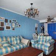 地中海风格三室一厅客厅沙发装饰