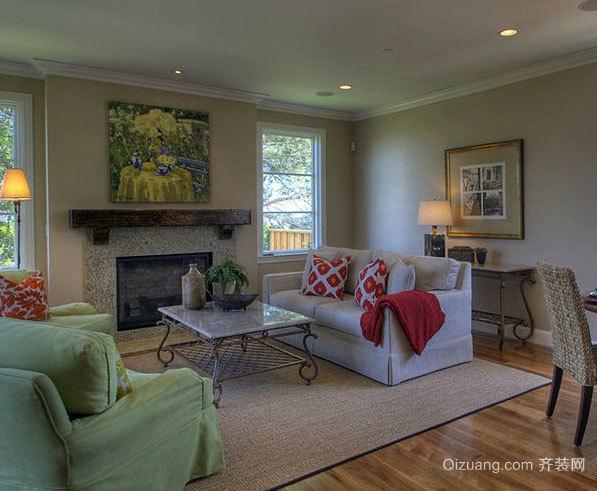 150平米美式原木自然清新别墅客厅装修效果图