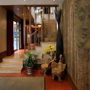 简约风格原木浅色楼梯设计