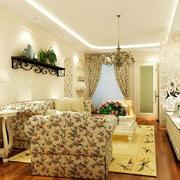 欧式田园风格客厅置物架设计