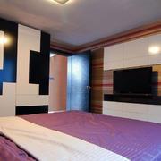 简约风格卧室黑白拼色背景墙