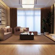 后现代风格浅色自然客厅地板设计