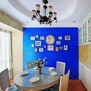 地中海风格蓝色餐厅背景墙装饰