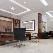 中式简约风格办公室背景墙