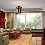 四合院中式风格客厅飘窗效果图