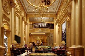 大型别墅高挑客厅罗马柱设计
