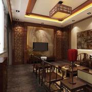 四合院简约风格客厅电视背景墙