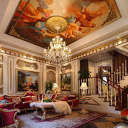 大型别墅客厅楼梯装饰