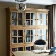 欧式浅色原木书房书柜效果图