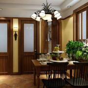 美式地中海风格餐厅桌椅效果图