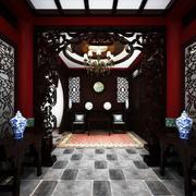 中式深色四合院客厅效果图