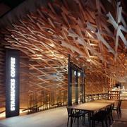 咖啡厅原木吊顶装饰