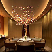 西餐厅室内椭圆形吊顶装修