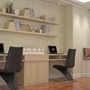 公寓简约书房原木桌椅