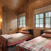 原木设计卧室双人床设计