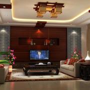 中式风格客厅原木电视背景墙