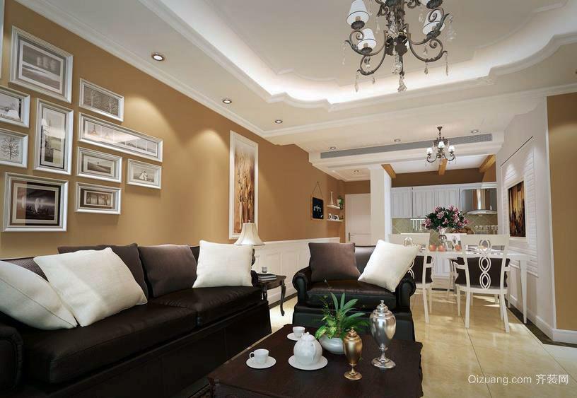 布局时尚的欧式风格客厅照片墙装修效果图
