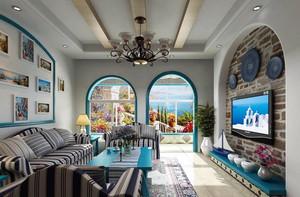 90平地中海风格三居室装修效果图