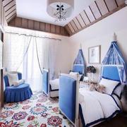 地中海风格儿童房双人床装饰