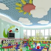 简约风格幼儿园吊饰背景墙装修