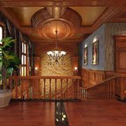 大型原木别墅设计楼梯装饰