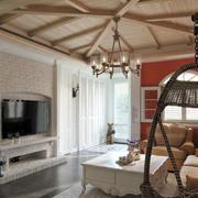 美式复古客厅原木吊顶效果图