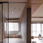后现代风格简约客厅原木墙隔断