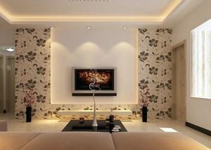 简约中式印花电视背景墙