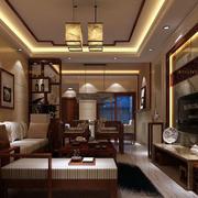 中式原木系深色客厅吊顶