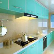 果绿色清新小厨房橱柜装修