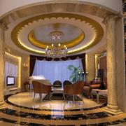 欧式客厅圆形奢华吊顶