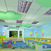 现代简约风格幼儿园教室背景墙