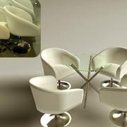 咖啡厅简约玻璃圆桌装饰