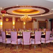 豪华餐厅圆形吊顶设计