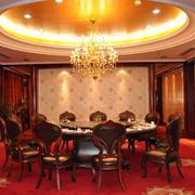 餐厅包间大型圆形吊顶设计