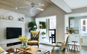 别墅新房客厅原木吊顶设计