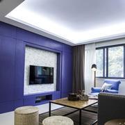 两室一厅简约紫色电视背景墙