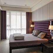 别墅浅紫色卧室效果图