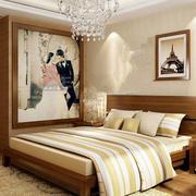 中式风格婚房原木床饰设计