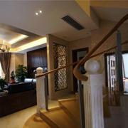 复式楼原木楼梯扶手设计
