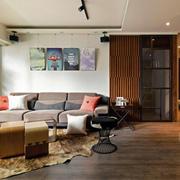简约风格客厅原木地板装饰