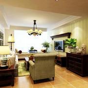 美式风格客厅盆栽装饰