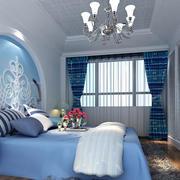 欧式浅蓝色卧室背景墙装饰