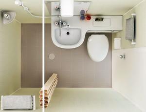 现代简约风格卫生间俯视图设计