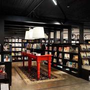大型书店深色系书架装修