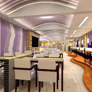 现代简约风格西餐厅吊顶