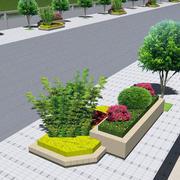 简约风格道路两旁花坛装修