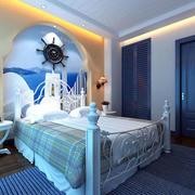 海蓝色卧室背景墙