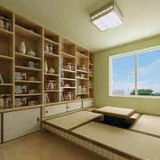 日式原木色简约书房效果图