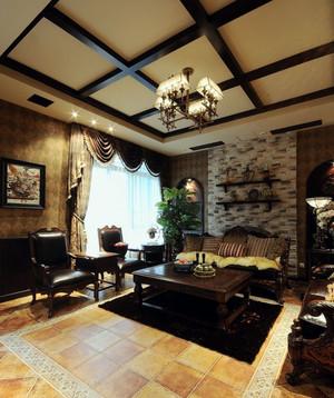 美式客厅原木吊顶设计